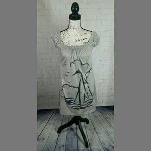 Delias XS Grey Dress Off the Shoulder Sailboat